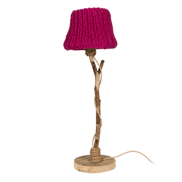 houten tafellamp fuchsia gebreide kap