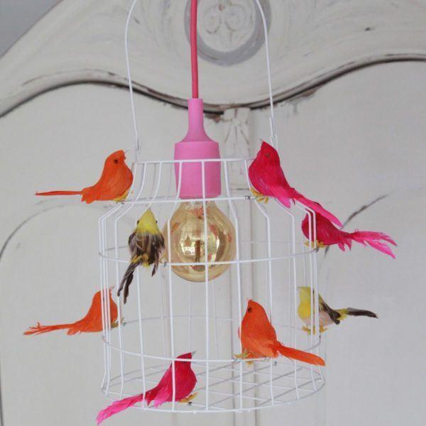 hanglamp vogels rose kinderkamer
