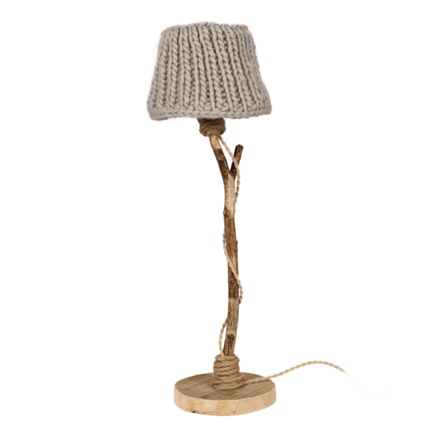 houten tafellamp beige gebreide kap
