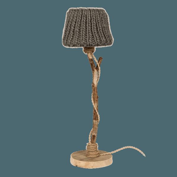 houten tafellamp taupe