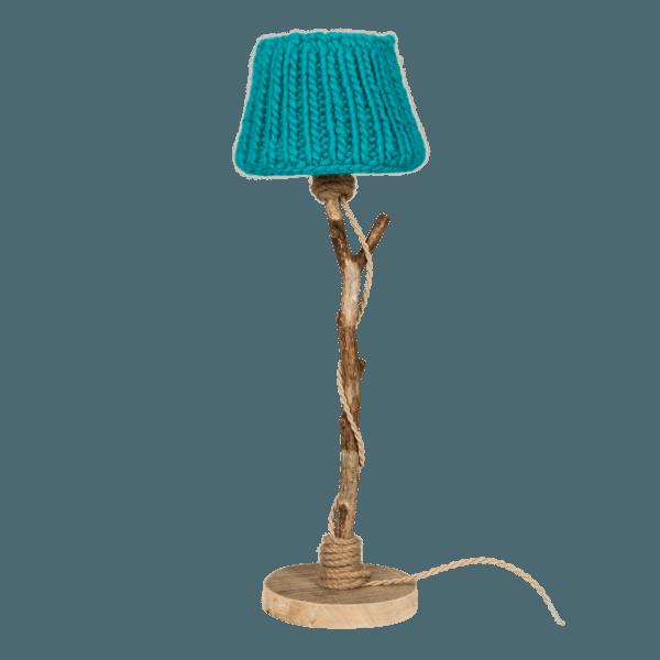 houten tafellamp turquoise
