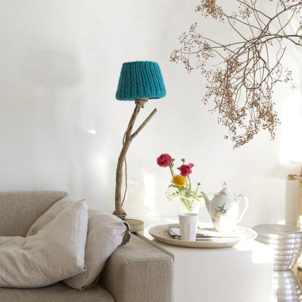 houten tafellamp turquoise DutchDilight
