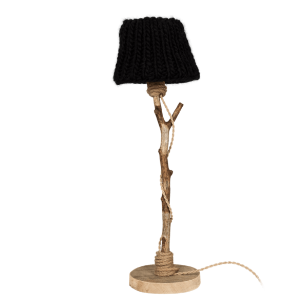 houten tafellamp zwarte kap