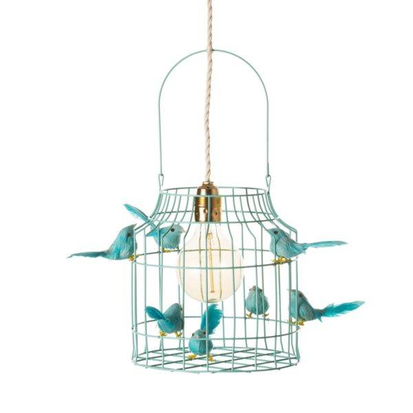 hanglamp vogels turquoise