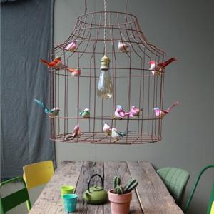hanglamp eettafel vintage vogels